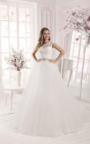 A Line Scalloped Neckline Long Sleeve Lace Top Tulle Dress With Crystal Detailing And Train