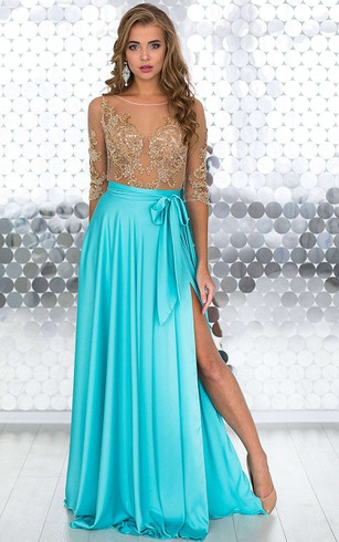 A-Line Floor-Length Bateau Short Sleeve Jersey Beading Appliques Illusion Dress