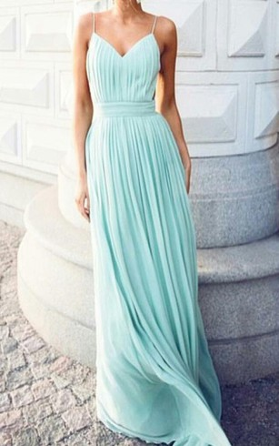 A Line Floor Length V Neck Spaghetti Straps Chiffon Dress ...