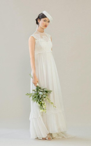 High Neck Sleeveless Chiffon A Line Dress With Lace Top