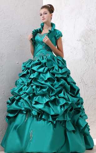 Satin Strapless Ball Gown With Ruffles and Criss-Cross Ruching