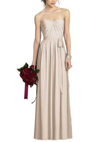 Chiffon Long Bridesmaid Dress with Bow and Ruching