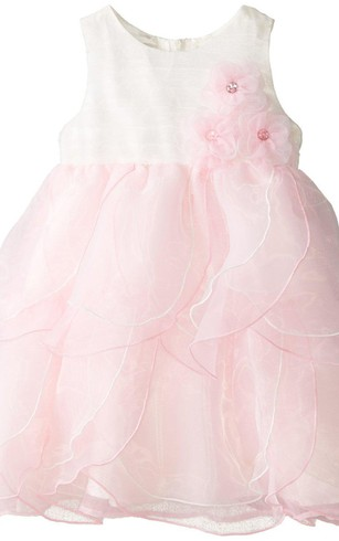 Sleeveless A-line Organza Dress With Flowers
