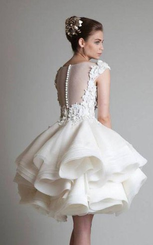 Short bridal dresses knee length simple casual wedding gowns a line ball gown empire mini jewel bell cap empire appliques ruffles button lace organza junglespirit