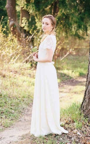 Casual second wedding dresses wedding dresses for older brides chiffon lace weddig dress with flower junglespirit Choice Image