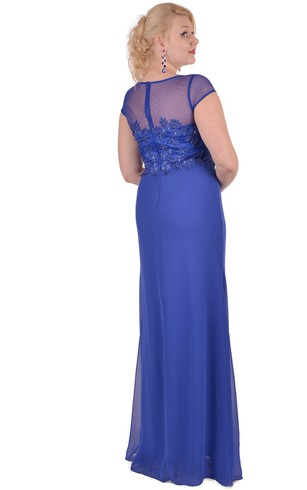 Sheath Floor-Length Jewel Short Sleeve Chiffon Appliques Zipper Dress