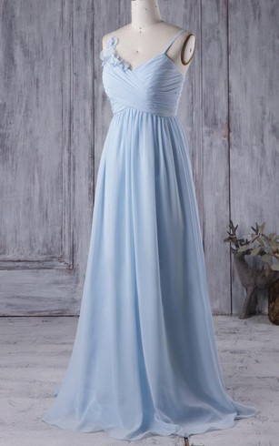 Spaghetti Straps Criss-cross Top A-line Pleated Chiffon Long Dress With Flowers