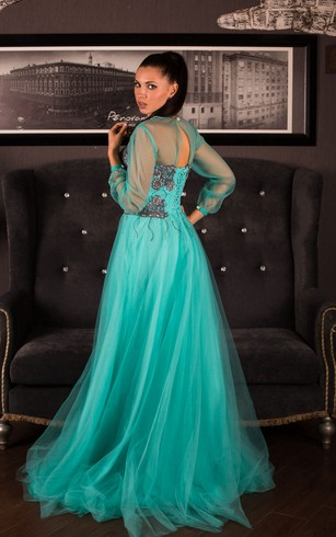 A-Line Sweep High-Neck Long Sleeve Tulle Appliques Beading Keyhole Dress