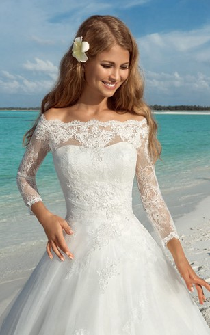 A-Line Long Off-The-Shoulder T-Shirt-Sleeve Lace-Up Organza Dress With Appliques