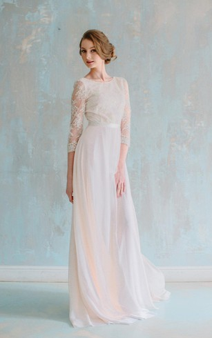 Cheap 3 4 long sleeved wedding gown bridal dress with half three quarter illusion sleeve jewel neck a line chiffon dress with satin sash junglespirit