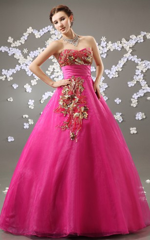 Sweetheart Organza A-Line Ball Gown With Golden Embellishment