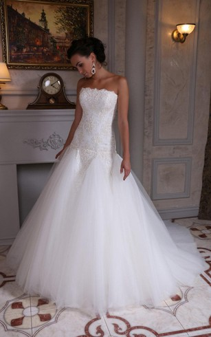 Strapless Lace and Tulle Dress With Dropped Waistline and Beadings