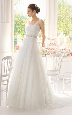 Cheap wedding dress simple white bridal dresses dorris wedding sleeveless a line tulle long dress with beaded waistband junglespirit Image collections