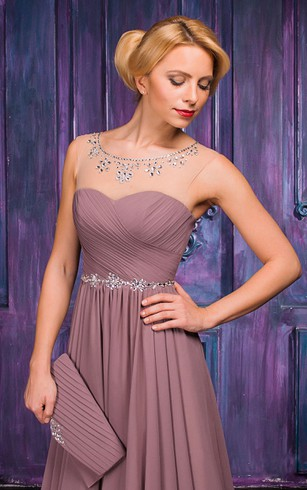 A-line Floor-length Jewel Sleeveless Chiffon Zipper Dress