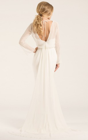 Scoop Floor Length Long Sleeve Chiffon Wedding Dress With Watteau Train And V Back