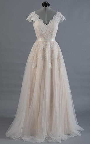 6334dee5a1 Cap Sleeve V-Neck A-Line Tulle Dress With Lace Bodice and Satin Sash ...