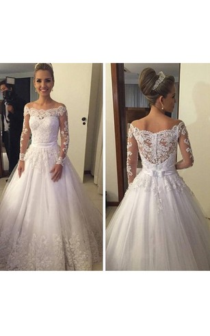 Cheap Lace Bridal Dress With Long Sleeve | Long Lace Sleeved Wedding ...
