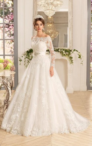 Sleeved bridal dresses long sleeves wedding dress dorris wedding a line short off the shoulder long sleeve bell bat appliques flower button junglespirit Gallery