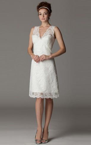 Short length bridal dresses above knee wedding dress dorris wedding v neck sleeveless short lace wedding dress junglespirit Images