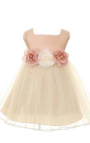 Gold flower girl dresses flower girl dresses shop by color cap sleeved square neck a line dress with flowers and bow mightylinksfo