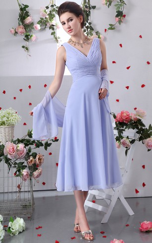 Chiffon V Neck Tea Length Dress With Criss Cross Ruching