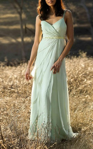 Spaghetti Straps V Neck Empire Layered A-line Chiffon Long Dress