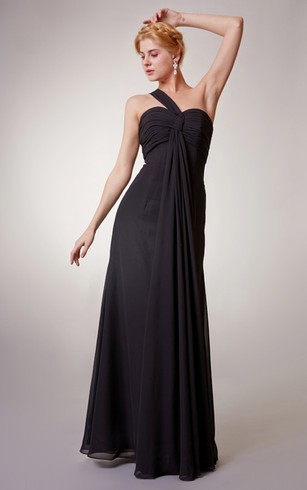 Gossamery One-shoulder Chiffon Dress With Empire Waist
