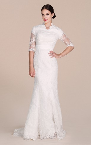 Cheap 1920s vintage wedding gown sheath bridal dresses with lace half sleeved lace gown with illusion sleeves junglespirit