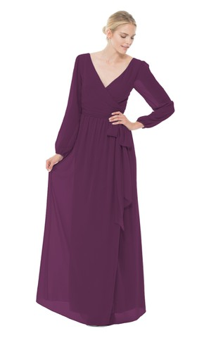 V-Neck Long-Chiffon Dress With Long Sleeves