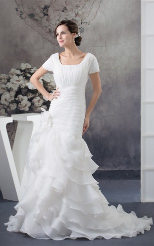 Square Neck Ruched Mini Sleeve Tiers And Gown With Flower