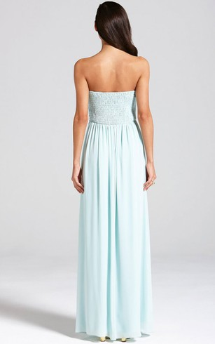Empire Long Strapless Chiffon Dress With Lace Applique