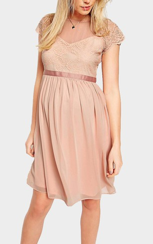 Lace and Chiffon A-Line Knee Length Short Sleeve Dress With Illusion Style