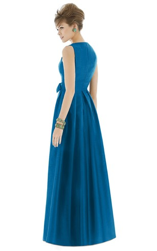 Long V-Neck Sleeveless Ruched Satin Gown with Side Bow Sash and Pleats