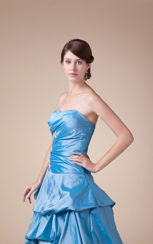 Sleeveless Pick-Up Appliques and Ball-Gown With Pleats