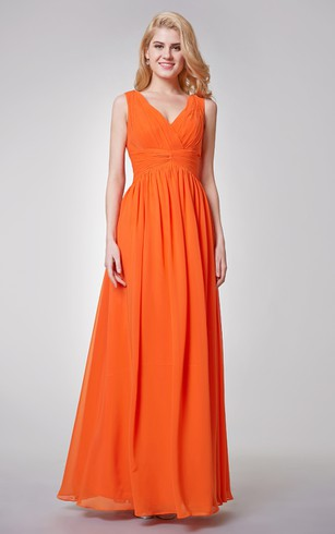 V Neck Pleated A Line Long Chiffon Dress With Ruched Waist