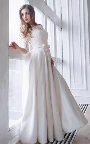 Cheap 3 4 long sleeved wedding gown bridal dress with half sleeve scoop neck lace 34 length sleeve a line satin wedding dress with junglespirit Choice Image
