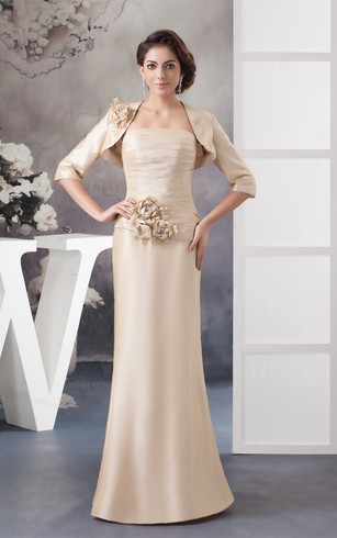 Sleeveless Sheath Ruched Bolero and Dress With Flower