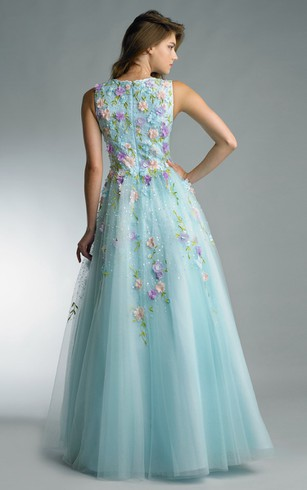 A-line Floor-length V-neck Sleeveless Tulle Zipper Dress
