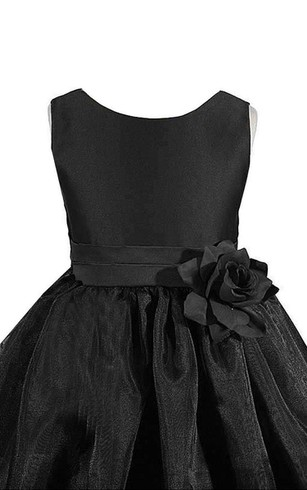 Sleeveless A-line Pleated Dress With Flowers and Bow