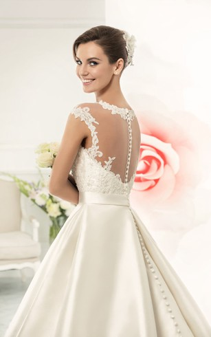 Ball Gown Floor-Length Jewel Cap-Sleeve Illusion Satin Dress With Appliques