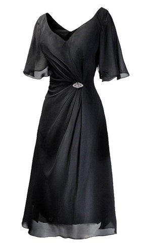 Black Ruched Dresses for Mother of the Groom