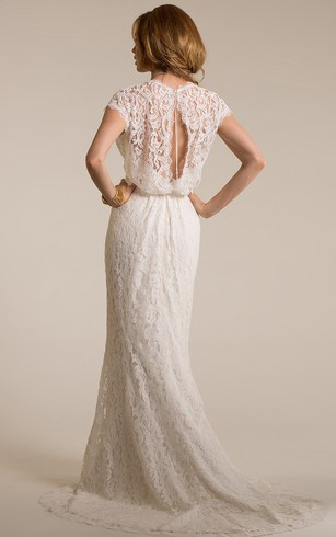 Casual second wedding dresses wedding dresses for older brides long v neck cap sleeve lace wedding dress with sweep train and keyhole junglespirit Choice Image