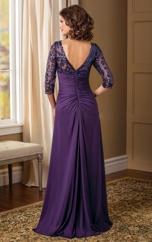 c435bbc73cd ... 3-4 Sleeved V-Neck Mother Of The Bride Dress With Sequins And V