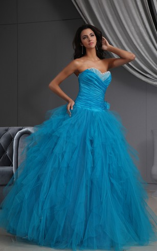 Sweetheart Ruching A-Line Ball Gown With Tulle Ruffles