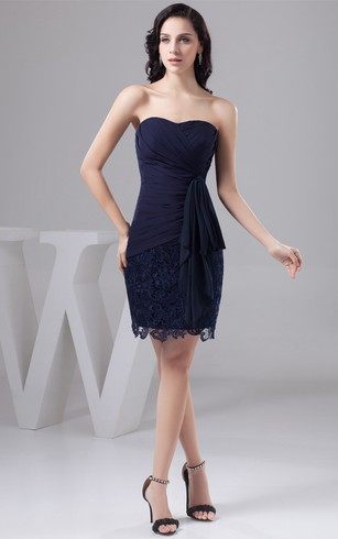 Sweetheart Short Criss Cross Draping And Dress With Lace