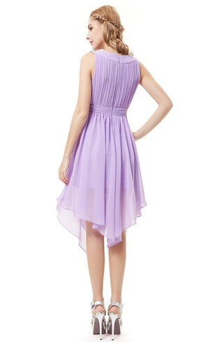 Sleeveless A-line Asymmetrical Dress With Pleats