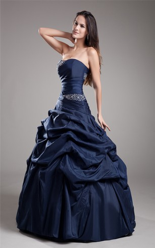 A-Line Taffeta Ball Gown With Ruching and Beading