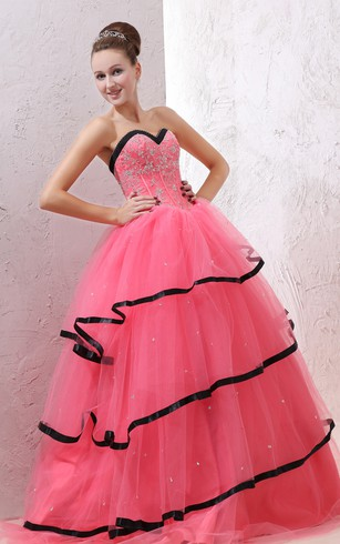 Sweetheart A-Line Ball Gown With Beaded Bodice and Black Hem