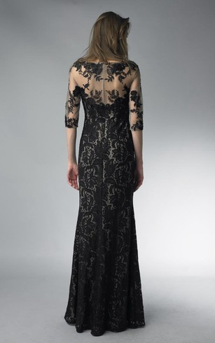 Sheath Floor-length High Neck Long Sleeve Lace Zipper Dress