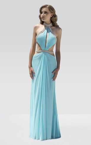 Sheath Floor-Length High Neck Sleeveless Chiffon Beading Pleats Dress
